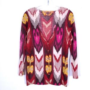 TORY BURCH Madeline Wool Printed Cardigan Sweater
